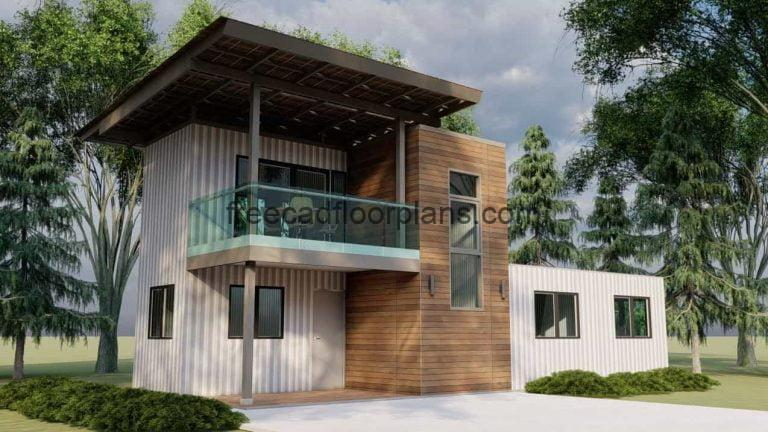 Two Storey Shipping Container House AutoCAD Plan, 3101211