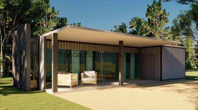 Shipping Container House AutoCAD Plan, 2401211