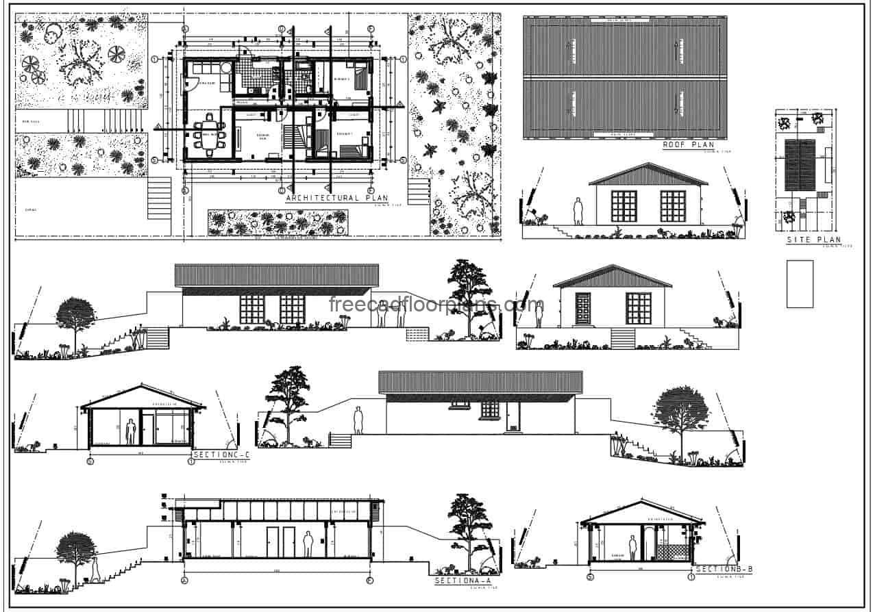 Complete project drawn in 2D DWG plans in Autocad of a simple one level house with three bedrooms, living room, kitchen, dining room and two bathrooms, the residence also has a garage for vehicles and front, side and back garden area. Free downloadable plans in DWG format with architectural floor plan, dimensioned, elevations, sections.