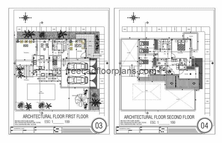 Complete architectural project in DWG format of Autocad modern residence of two levels with three rooms in the second level. Simple and fluid distribution, double garage, living room, dining room, kitchen, and room in the first level with large patio area. Plans for free download in 2D DWG format of Autocad, complete project with architectural plans, dimensioning, 3D, elevations, sections, sanitary plans, electrical, and foundations.
