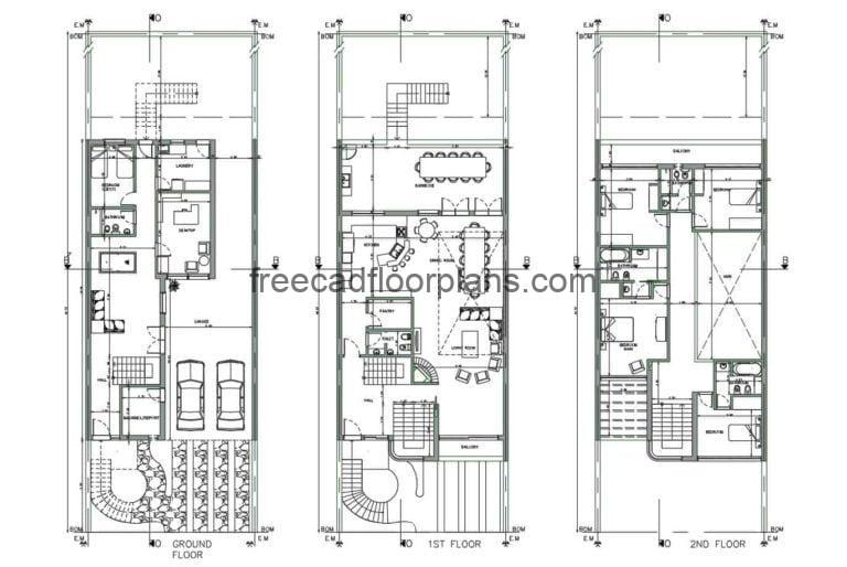Three Level and Four Bedroom House, Autocad Plan, 1801211