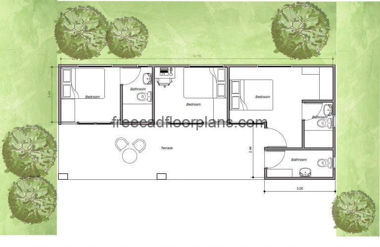 Container houses Autocad drawings for download, house made with two 20 foot containers.