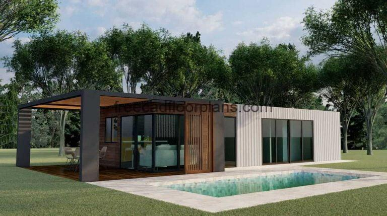 Shipping Container House AutoCAD Plan, 3001211