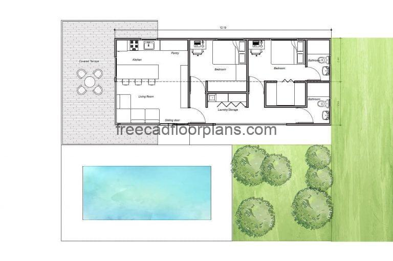 Two-bedroom container house, 2 Shipping 40 sq. ft,