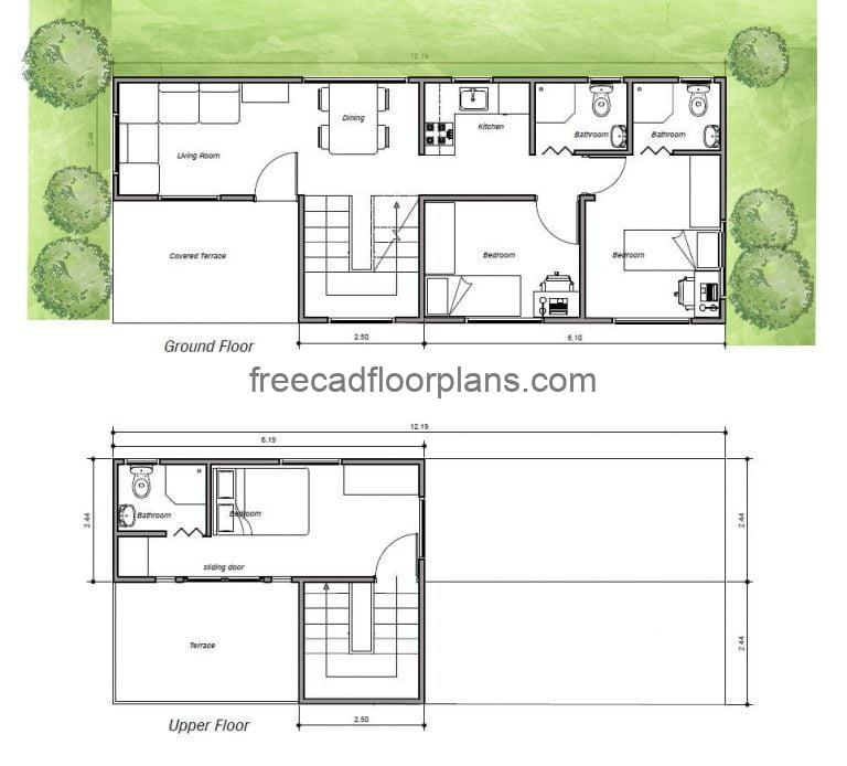 2D DWG AutoCAD drawing of two-level house made of 20-foot and 40-foot containers with three bedrooms.