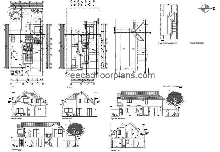 Five Bedrooms Two Storey Simple House Autocad Plan, 2701211