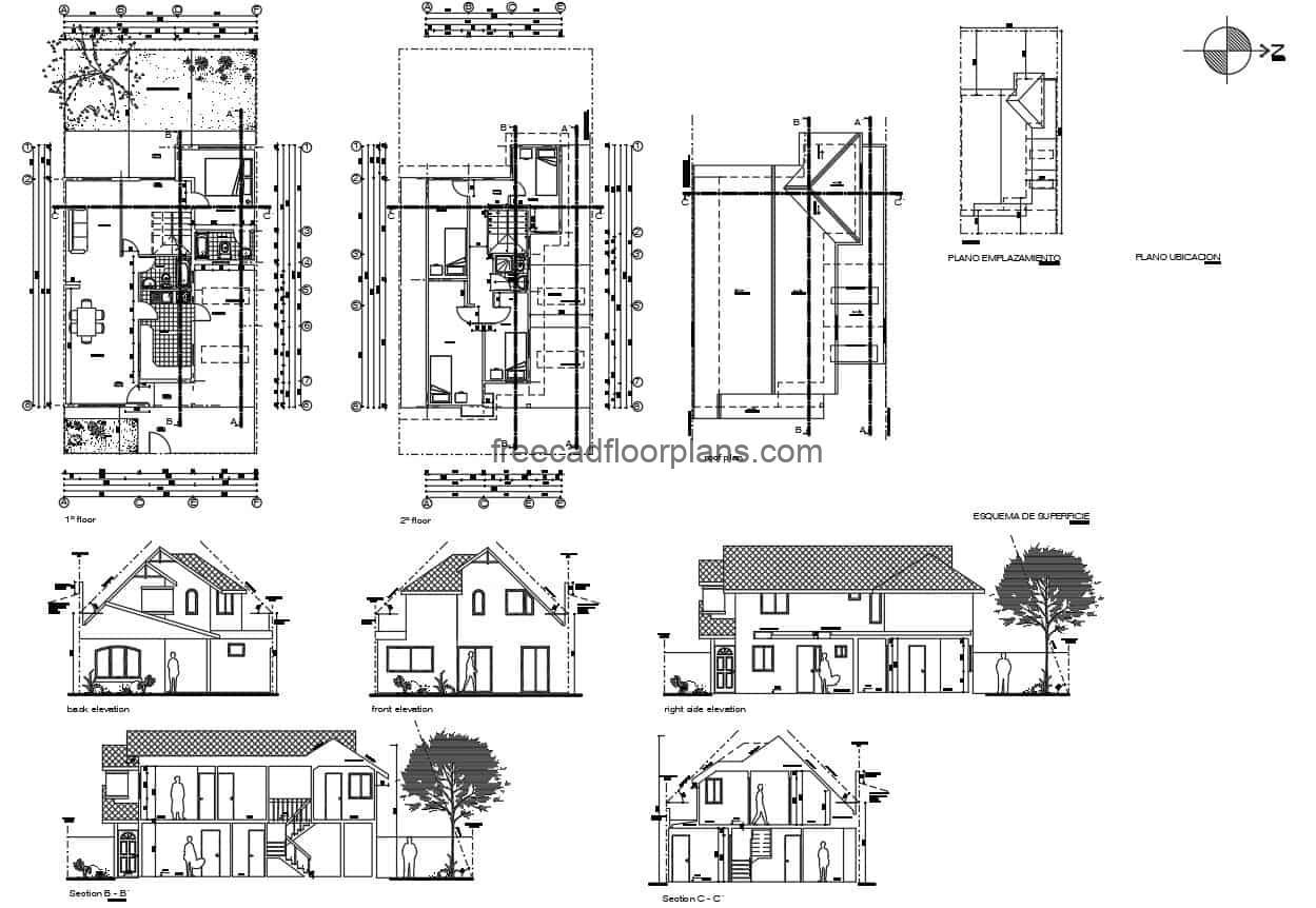 2D Autocad floor plan for a simple two level residence with basic dimensions, distribution of spaces with five bedrooms in total, master bedroom on the first level and four bedrooms on the second level. Living room, kitchen, dining room, garden area on first level. Autocad DWG drawings for free download, with dimensioned plans, and elevations.