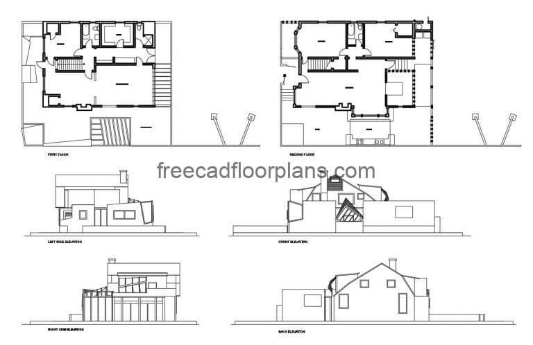 Autocad DWG plans of the Architect Frank Gehry's Residence