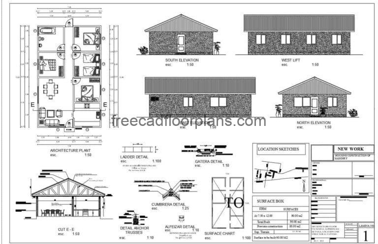 Four Bedrooms Rural House Autocad Plan, 1401211