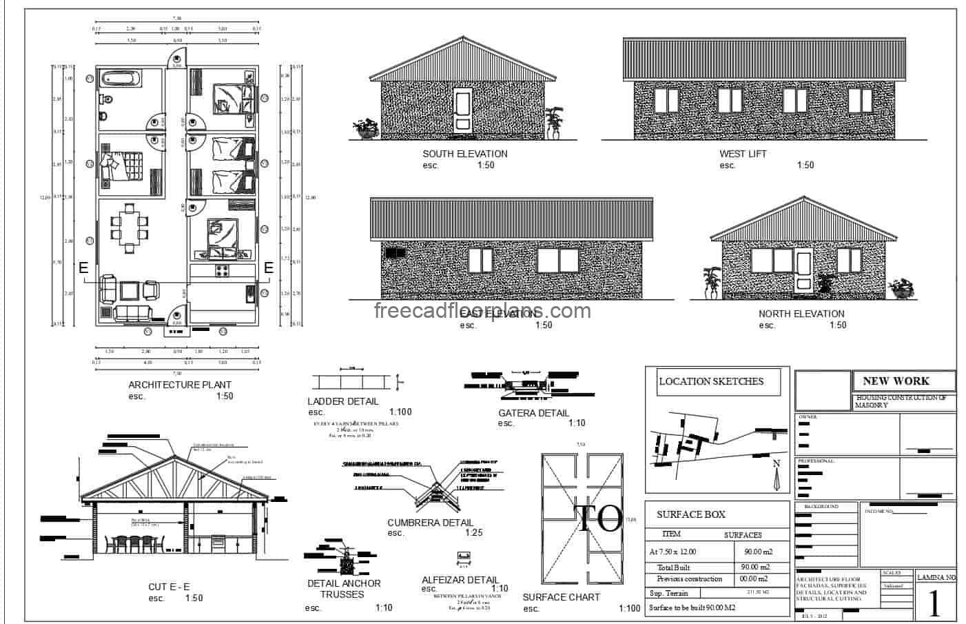 2D architectural project plan of a country house with four bedrooms, living room, kitchen, dining room and shared bathroom. The project contains architectural plans, dimensions, elevations, details of wooden structure, foundation plan. Plans for free download in DWG format from Autocad.