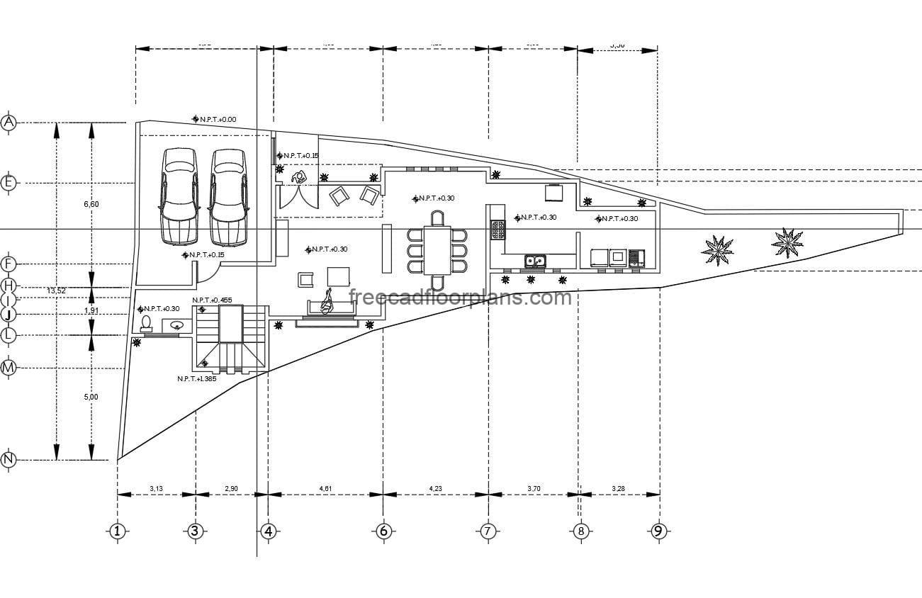 2D DWG project of architectural and dimensional plans, including technical electrical, sanitary and structural plans of modern style residence with triangular shape due to the land. The project also has the land with the contour lines, the residence has a basic distribution with three rooms on the second level. Drawings in Autocad DWG format for free download.