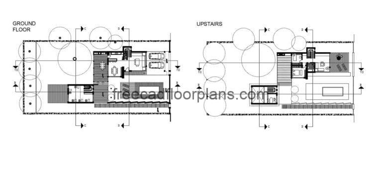 Modern Two-Level Residence With Swimming Pool, Autocad Plan 501211
