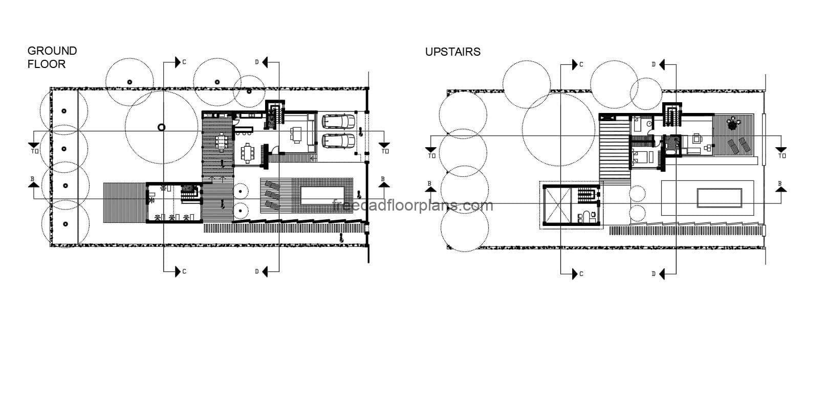 Complete 2D plan of Modern Two-Level Residence with Pool, Autocad DWG drawing with first and second level floor plan, front and side elevations and sections. The file also contains a 3D view of the AutoCAD drawing, plans for free download in DWG format, blocks and editable interior furniture.