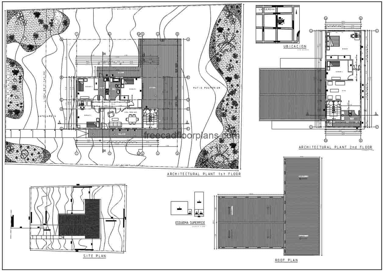Autocad DWG floor plan of a 2 level residence with five bedrooms in total, 3 bedrooms on first level and master bedroom with separate bathroom on second level. Additional simple distribution, living room with dining room, kitchen area, and large perimeter terrace. Free downloadable 2d DWG plans, architectural floor plans, dimensioned,