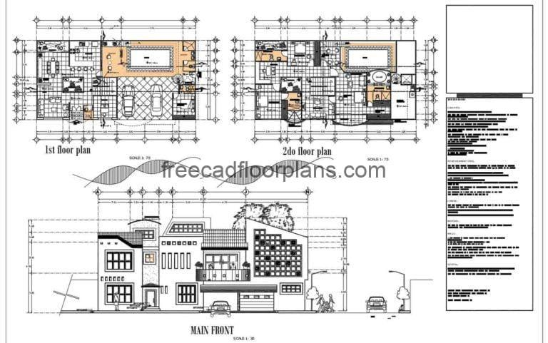 Two Storey Residence With Swimming Pool Autocad Plan, 1501211