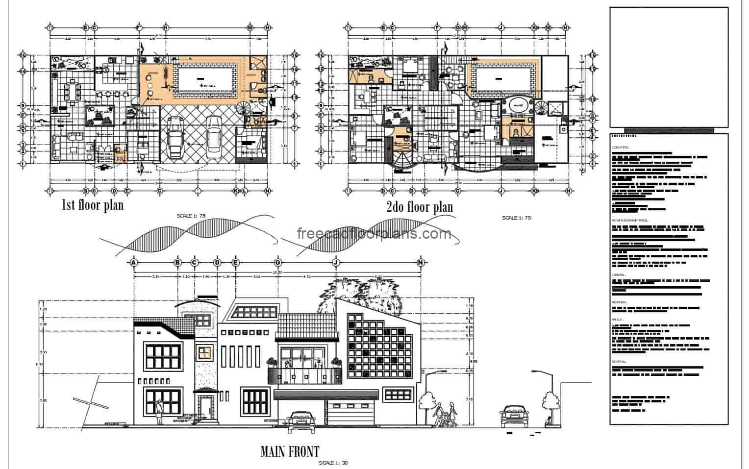 Complete Architectural Project drawn in 2D plans of DWG residence of two levels with swimming pool and four rooms in total, three rooms in second level and one room underneath. The residence also has a jacuzzy area, garage for two vehicles, living room, kitchen, dining room, and five bathrooms in total. Autocad DWG plans for free download.