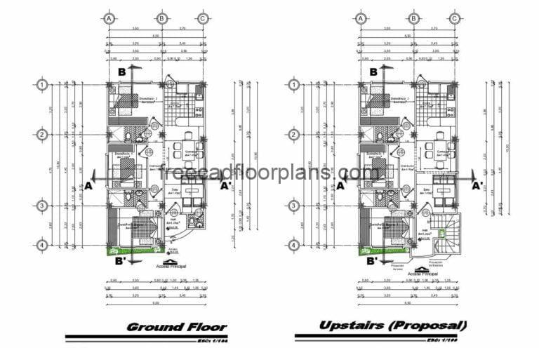 Two Levels Individual Houses, Autocad Plan 701211
