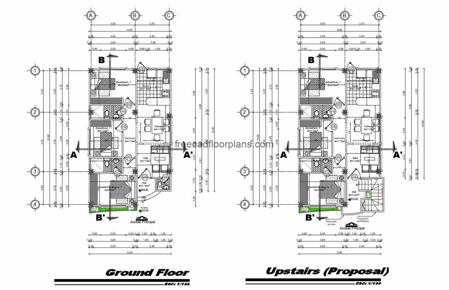 2D DWG Plans of Two Level Residence Individual houses of autocad, each residence has three bedrooms in simple distribution, living room, kitchen and dining room, with two and a half bathrooms. Basic and simple distribution, plans for free download in Autocad DWG format.