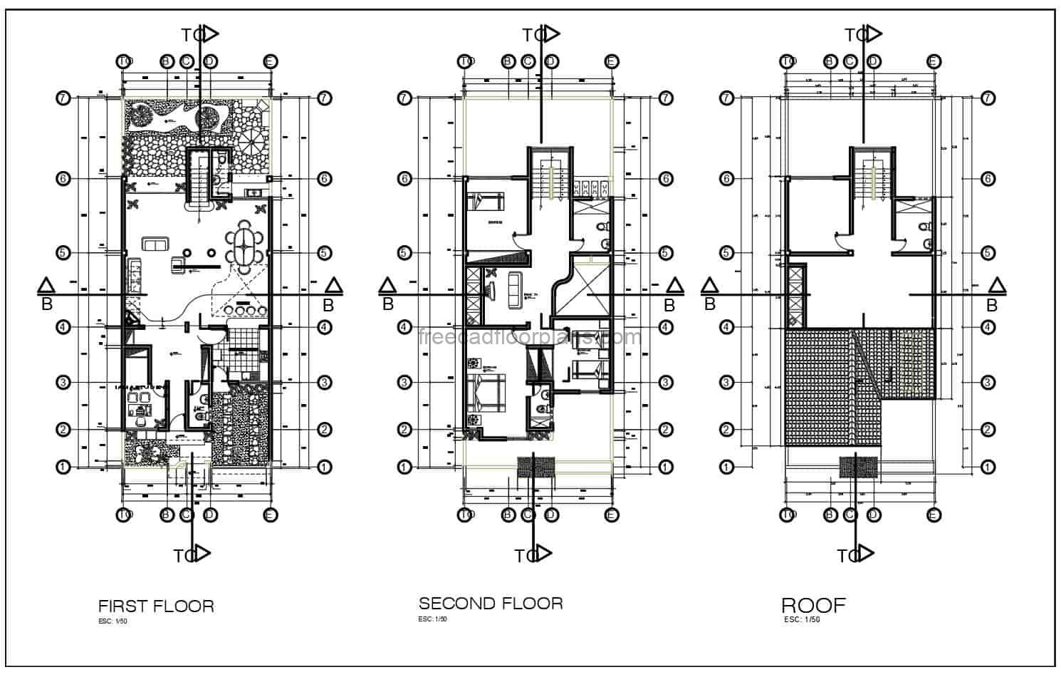 DWG floor plan of a two and a half level residence with three bedrooms in the private area of the second level, basic layout, living room, kitchen, dining room, front and back garden, indoor bar and laundry area. The roof area has a bedroom and bathroom, free downloadable plans in DWG format with dimensions and foundation and floor plans.