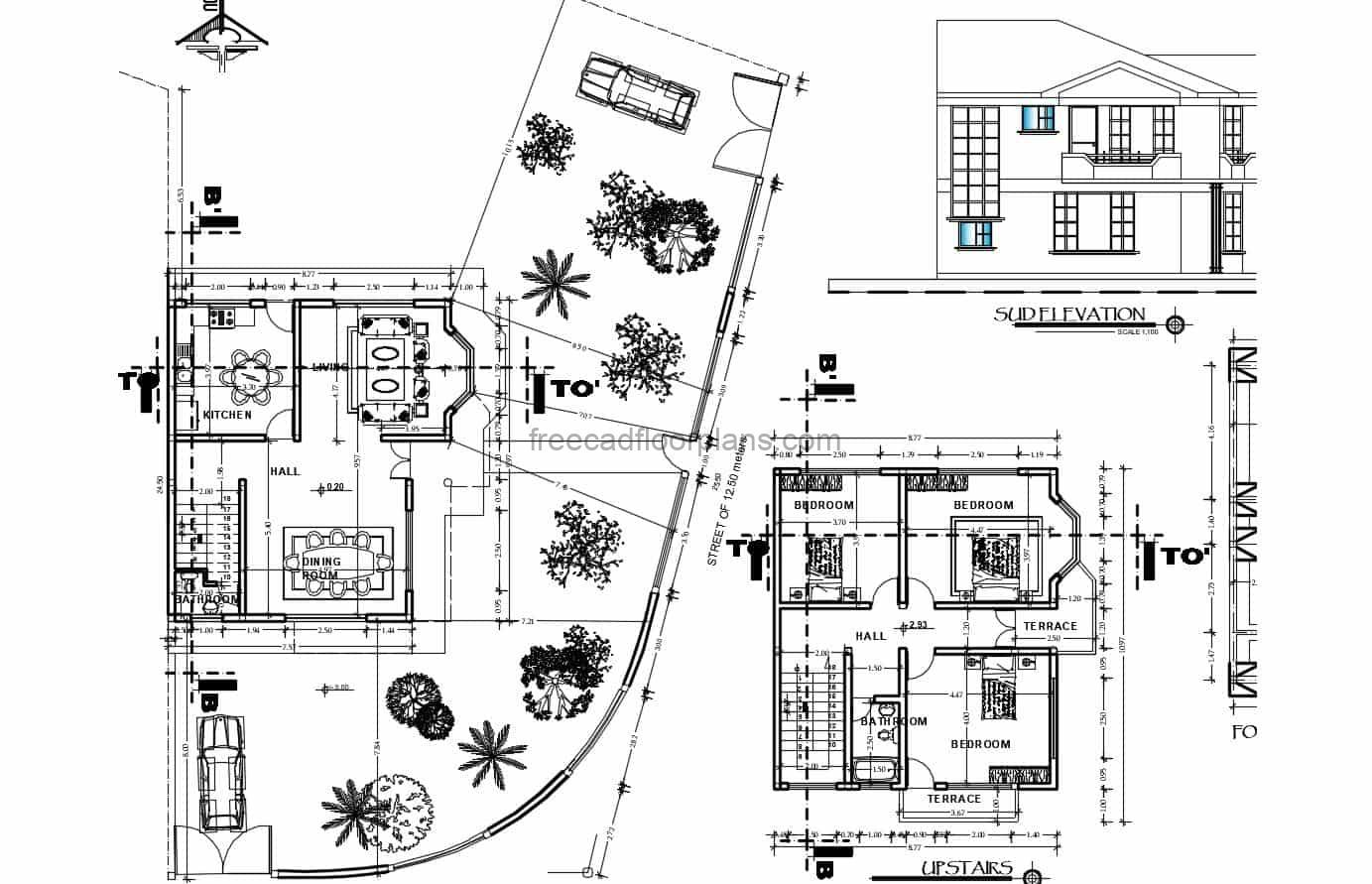 Complete project for a simple two-story residence with three bedrooms on the second level, plan with architectural distribution and dimensioned floor plan. DWG 2D plan for free download