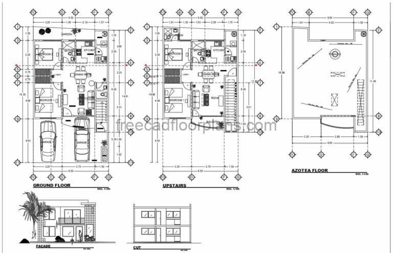 4 Bedrooms Two Storey House Autocad Plan, 2602211