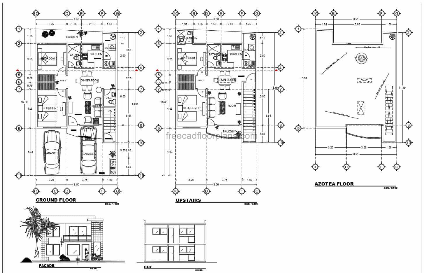 Architectural and dimensional plans in DWG AutoCAD format of a two level residence with four bedrooms, each level has two bedrooms and can function as independent houses. Plans with dimensions and blocks for free download in DWG format.