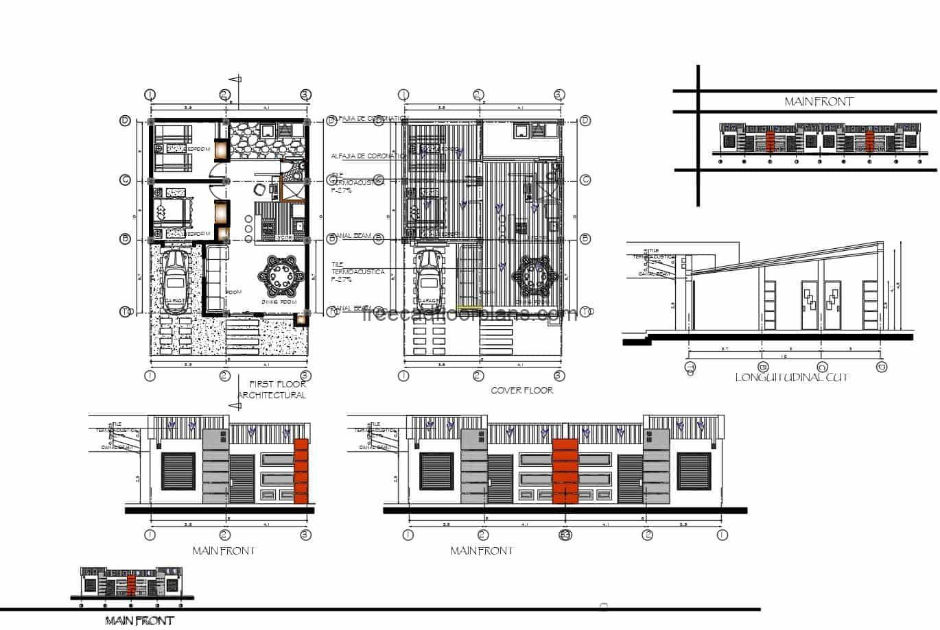Architectural design and dimensioning of small simple residence projected in 2D DWG with two bedrooms and shared bathroom, living room and dining room, simple and small residence but with comfortable distribution, includes laundry area and garage for vehicle. Plans for free download include elevations, sections and the architectural floor plan, DWG format of A