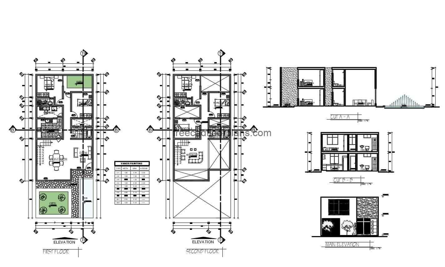 2D drawing in DWG format of architectural plan of a simple house with front and back gardens of five rooms in total, two rooms for each level, on the first level living room, kitchen, dining room, laundry area and two bedrooms. Second level, three bedrooms, family room and two bathrooms. Floor plans for free download, dimensioned floor plan with elevations and sec