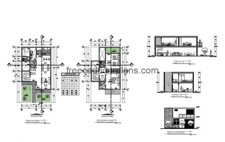 Two Storey House With Two Bedrooms Autocad Plan, 0802201