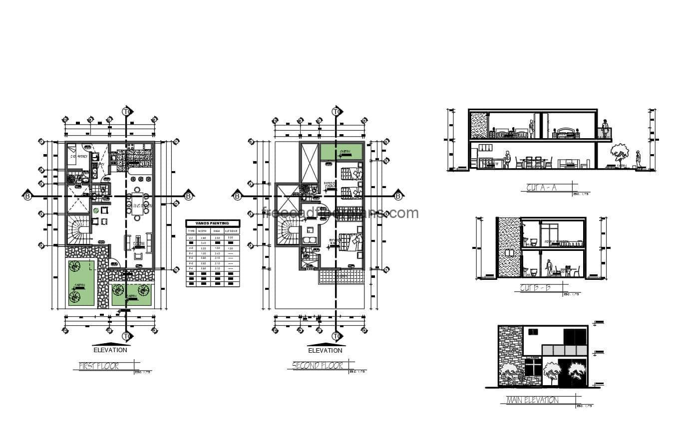 Floor plan of a two level residence with two bedrooms in private area on the second level and terraces, on the first level, social area with living room, kitchen, dining room, bedroom and service area. 2D DWG plans for free download.
