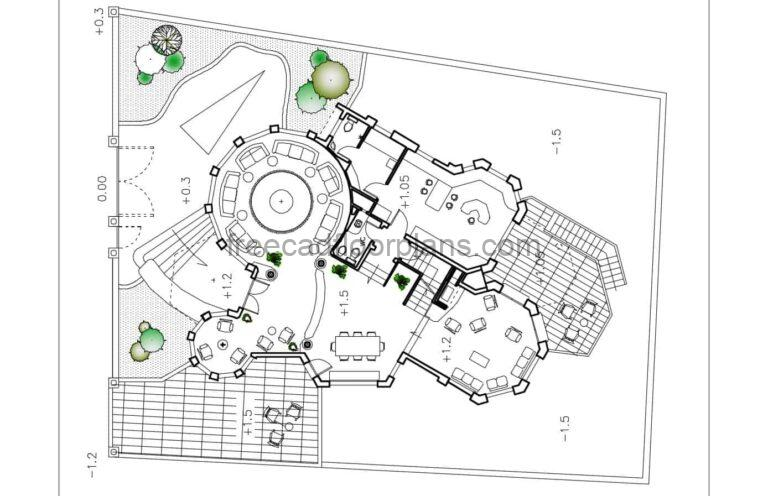 Three-story House With Circular Shape Autocad Plan, 1602201