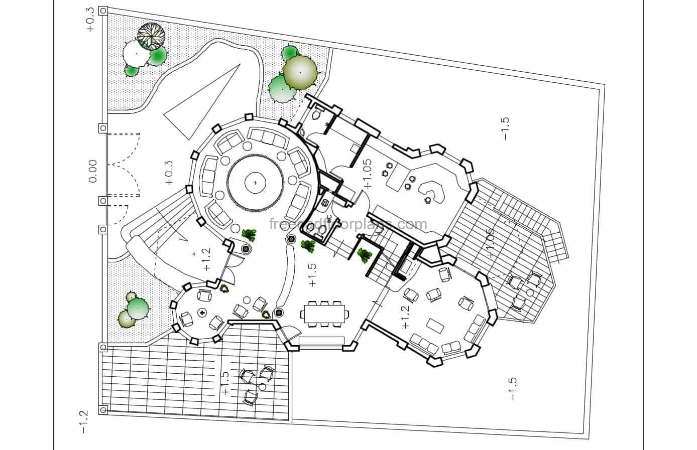 Three Story House With Circular Shape Autocad Plan 1602201 Free Cad Floor Plans
