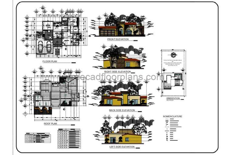 One Storey 2 Bedrooms House Autocad Plan, 1502201