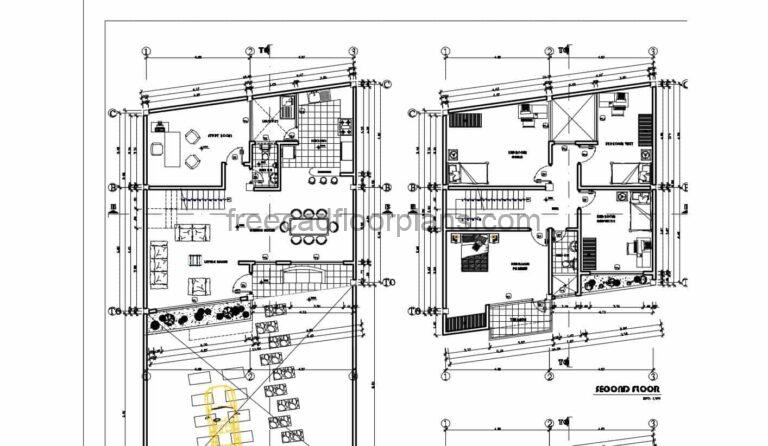 DWG floor plan drawing of a two level residence with large front yard that serves as parking, four bedrooms in total in private area on second level, first level with living room, dining room, kitchen, laundry area and study room. Free downloadable floor plan in DWG format with dimensions, sections and elevations.