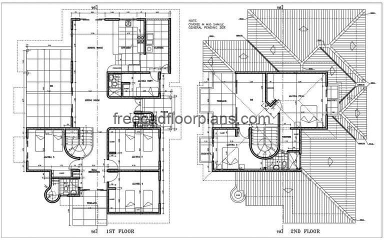 Two Storey Country House Autocad Plan, 0502201