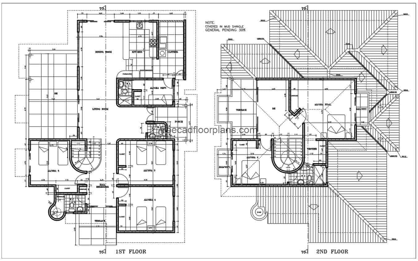 Architectural design drawn in DWG of Autocad, of a country residence of two levels with six rooms in total, living room, kitchen, dining room and four bedrooms on the first level, with three bathrooms distributed. Second level, two bedrooms, with living room and terrace. Plans for free download, Autocad DWG format, dimensioned and architectural plans.