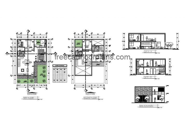 Two Storey House With Three Bedrooms Autocad Plan, 0902201