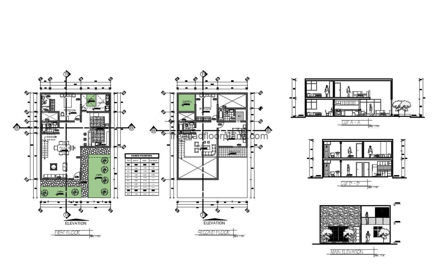 DWG floor plan of a simple two level residence with three bedrooms, two bedrooms on the second level with independent bathrooms, family room and terrace, on the first level there is another bedroom, living room, kitchen on the side, two bathrooms, laundry area and front garden. Architectural plans with dimensions for free download in DWG Autocad format.
