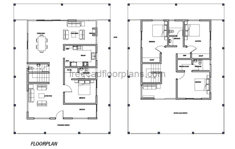 Two-story House With Chimney Autocad Plan, 1702201