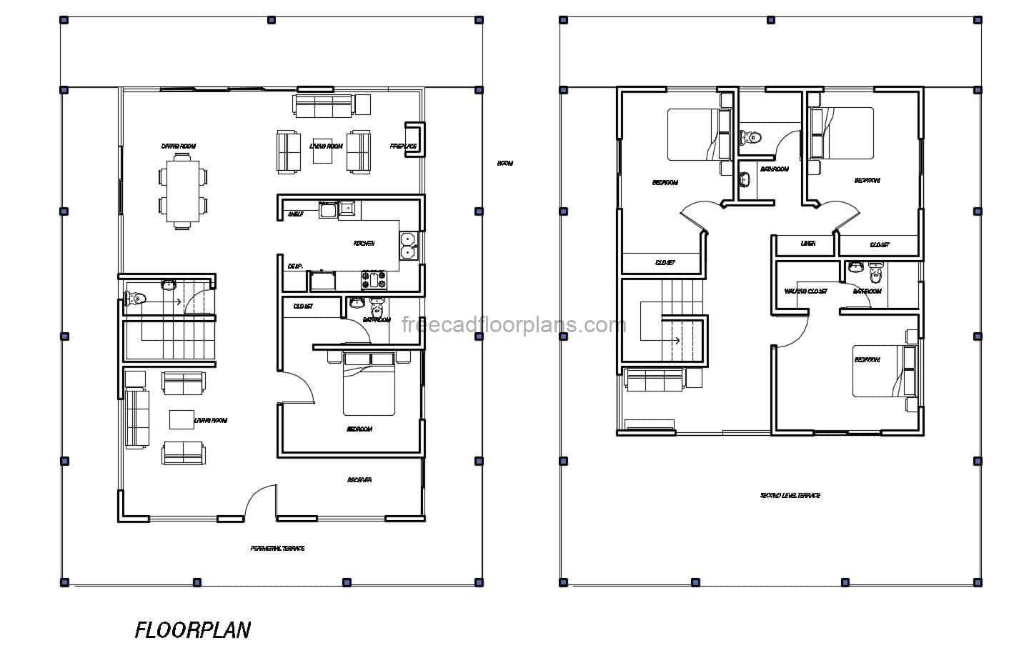 Architectural plan with defined spaces in DWG of a two-story residence with double living room and fireplace in the back room. Four bedrooms in total, master bedroom on second level, all bedrooms have access to terrace, living room, kitchen and dining room on first level. Architectural layout in 2D floor plan in DWG format for free download.