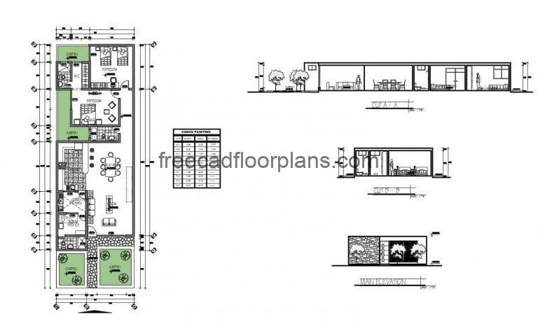 One Storey House With 2 Bedrooms Autocad Plan, 1202201