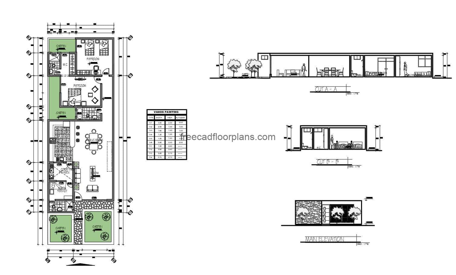 Architectural plans of a simple one level residence with two bedrooms and maid's room with service area, living room, kitchen, dining room, and two bathrooms with front gardens. CAD DWG plans for free download.