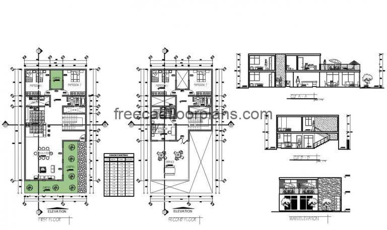 Two Level House With Terrace Autocad Plan, 1102201