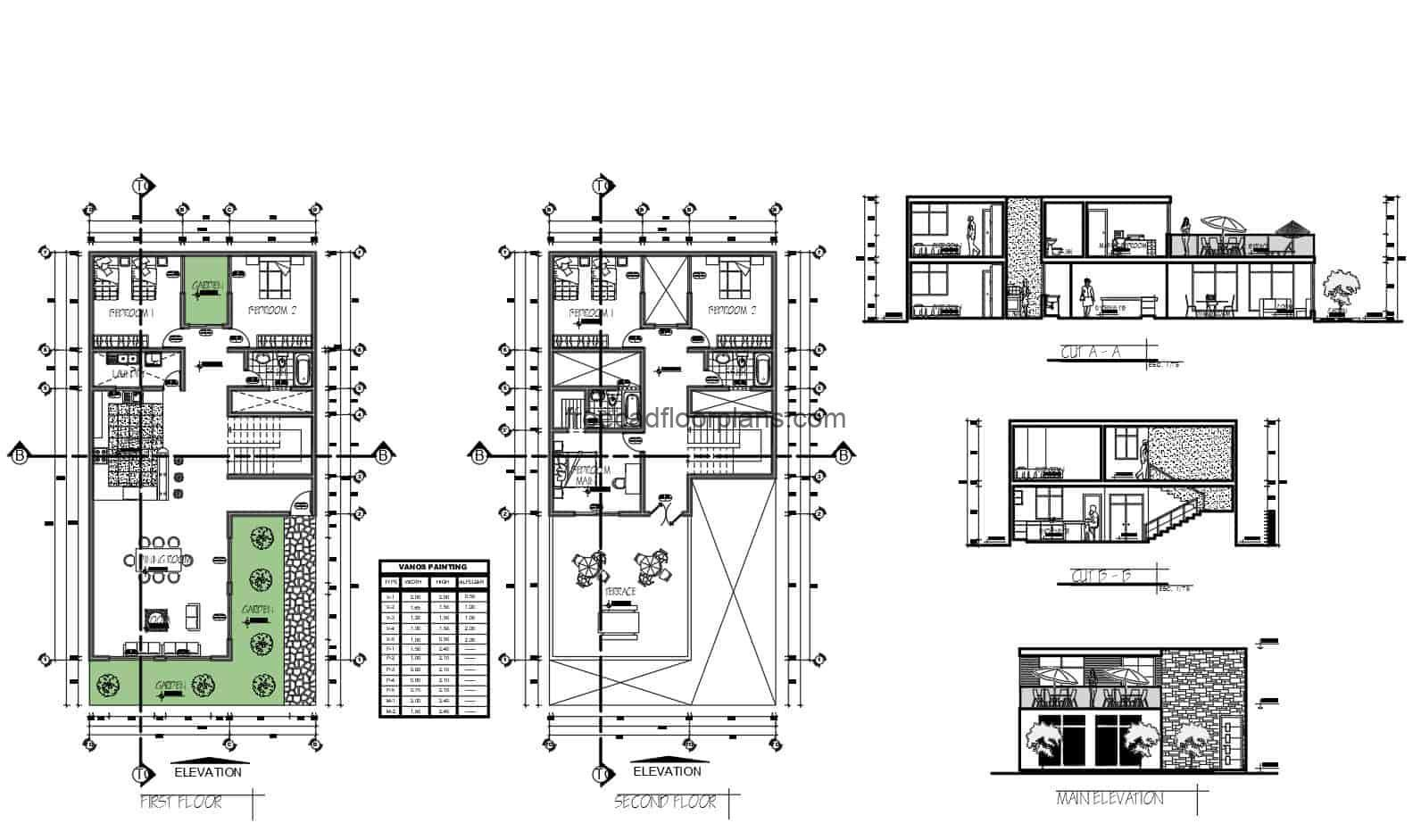 Architectural and dimensioned DWG plans of a two level rectangular residence with five bedrooms in total, two bedrooms on the first level and three bedrooms on the second level with a large front terrace. three bathrooms in total and laundry area on the first level. 2D plans in DWG format for free download.