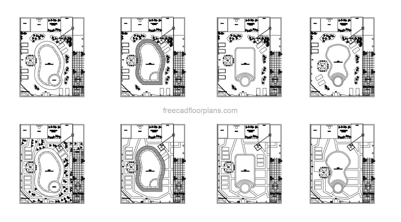 Swimming Pools Diferente Proposed designs in autocad dwg for free download, swimming pools with courts, bbq and recreation area, different forms