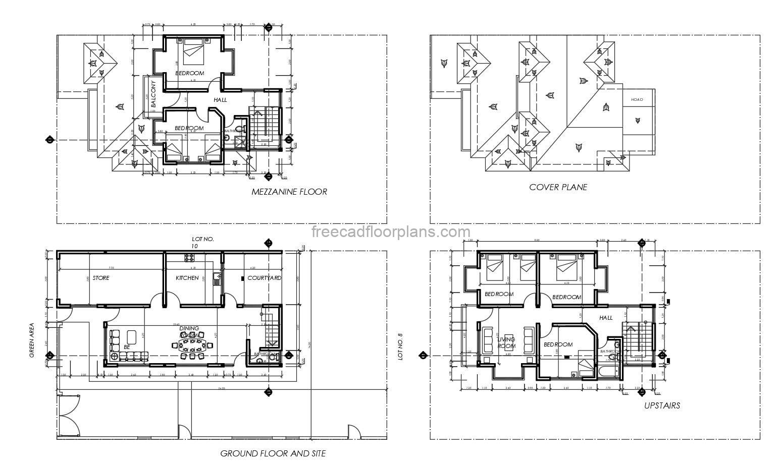 architectural and dimensioned plans of a three level residence with five bedrooms in total, autocad block plans in interior, facades, sections, architectural floor plan, dimensioned, construction details. free downloadable plans in autocad dwg format.