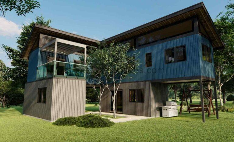 Two Storey Shipping Container House AutoCAD Plan, 2703212