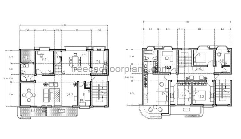 Duplex House With Front Balcony Autocad Plan, 2003211