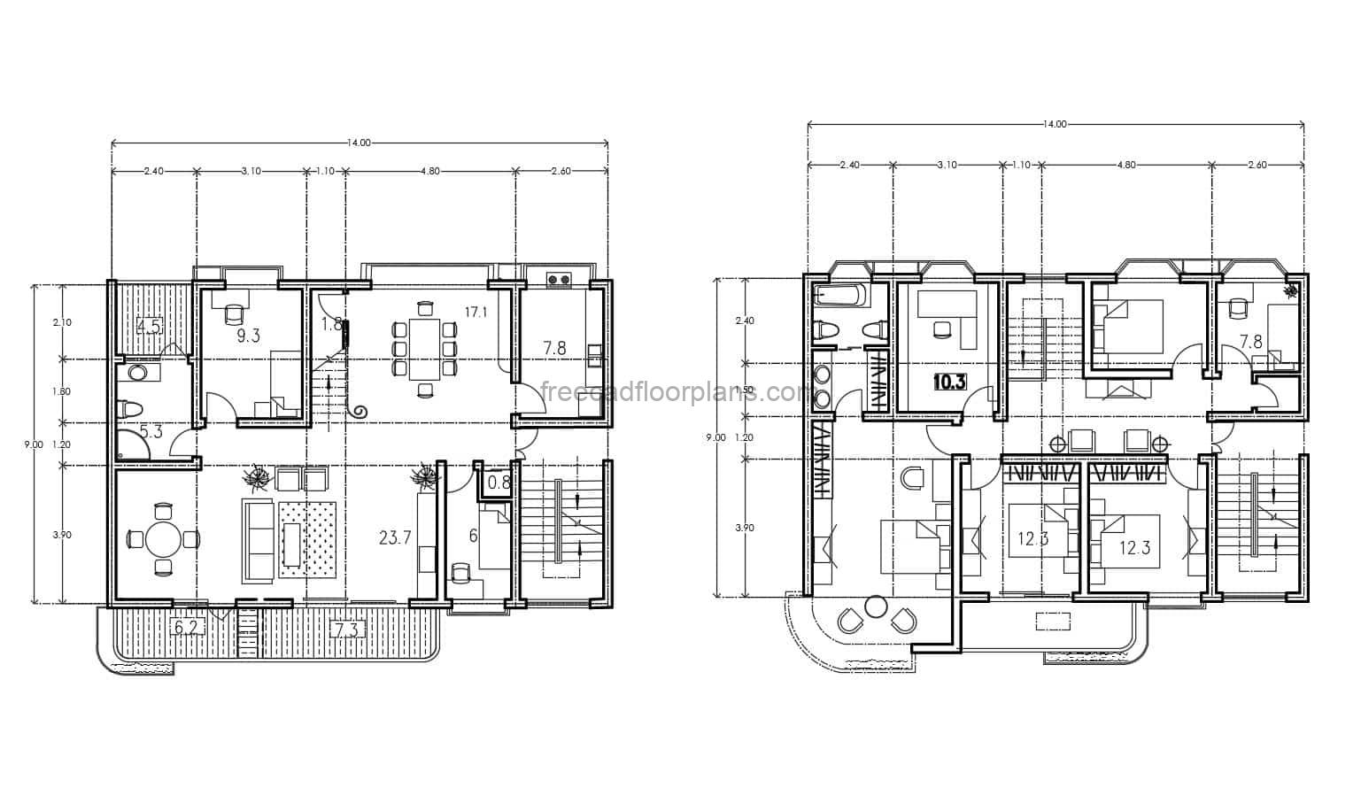 Architectural plans of Duplex House with front balcony with independent staircase, front and side balcony including a back balcony in one of the bathrooms, four bedrooms in one of the houses and two bedrooms in the other house. Plans for free download in 2d dwg autocad format, with dimensions and interior blocks.