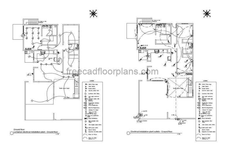 Complete Electrical Plan of a Two-level Residence DWG Autocad, 0708201